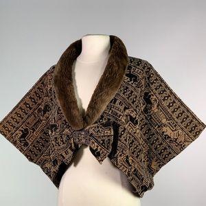 Vintage shawl valor with mink trim